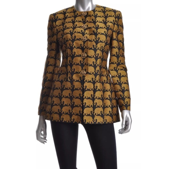CRISCA Jackets & Blazers - CRISCA Black Gold Elephants Animal Print Blazer